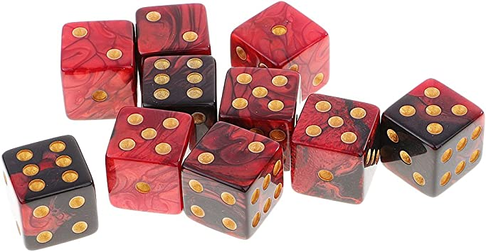 Gazechimp 10PCS Seis Caras D6 Dados de Plástico Juegos de Mesa Mazmorras y Dragones MTG Juego RPG - Negro Rojo: Amazon.es: Juguetes y juegos