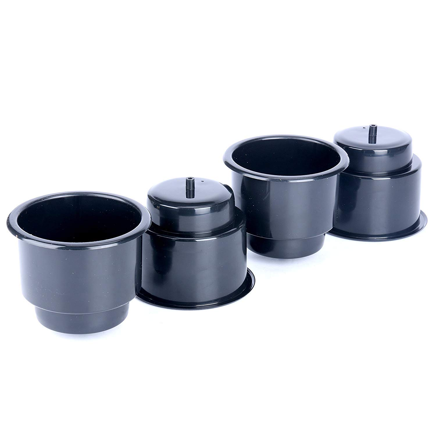 Set of 4 Amarine Made Black Amarine-made 4cupholders-Black Black Recessed Drop in Plastic Cup Drink Can Holder with Drain for Boat Car Marine Rv