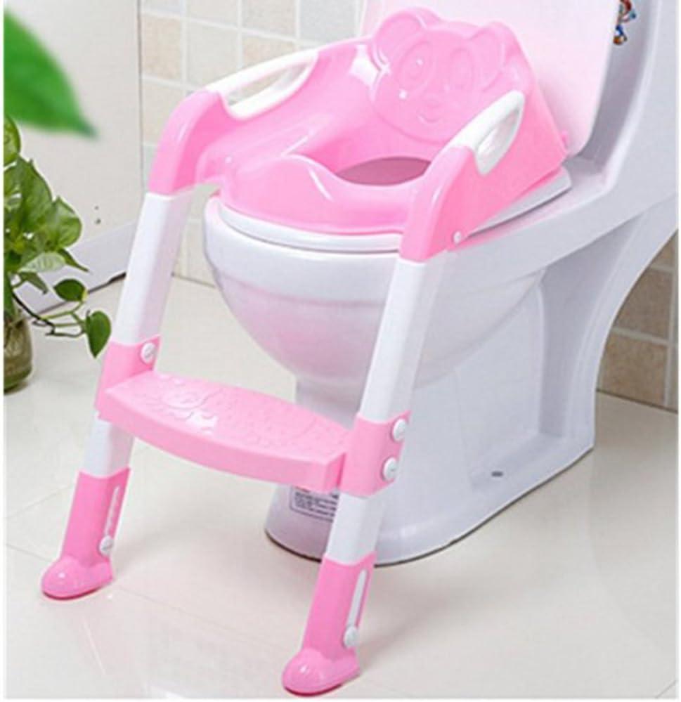 Rouge LAAT Portable B/éb/é Enfant Potty Si/ège avec /Échelle Enfants Si/ège De Toilette Si/ège Pliant Formation Toilette Housse de Chaise pour Gar/çon et Fille