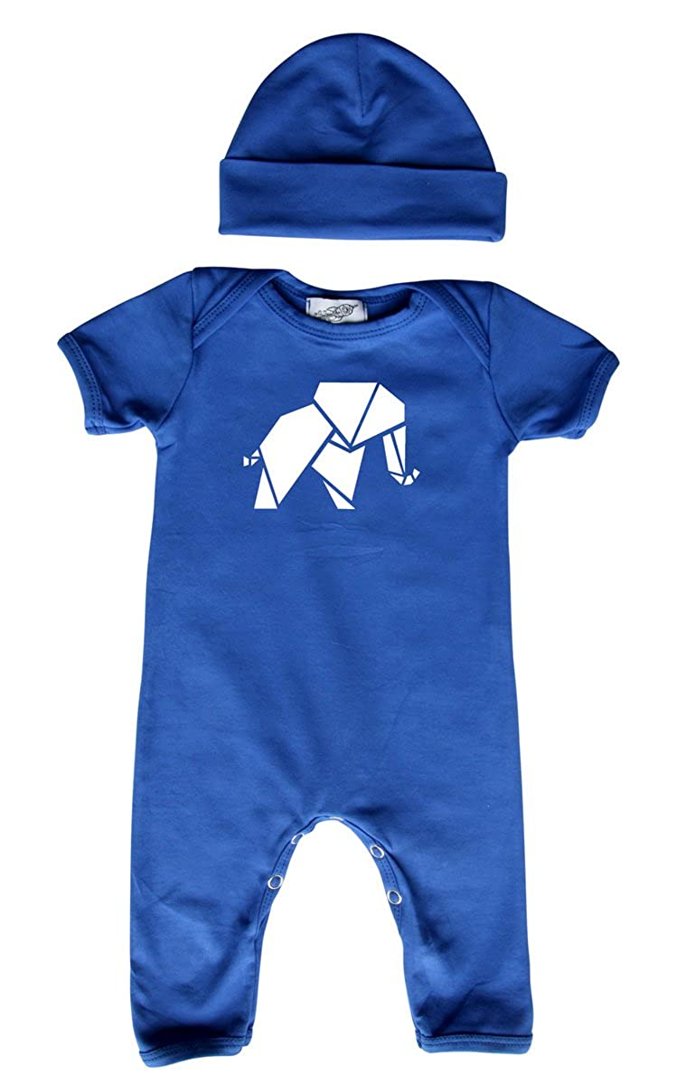 Rocket Bug Origami Elephant Baby Romper with Matching Headband//Hat