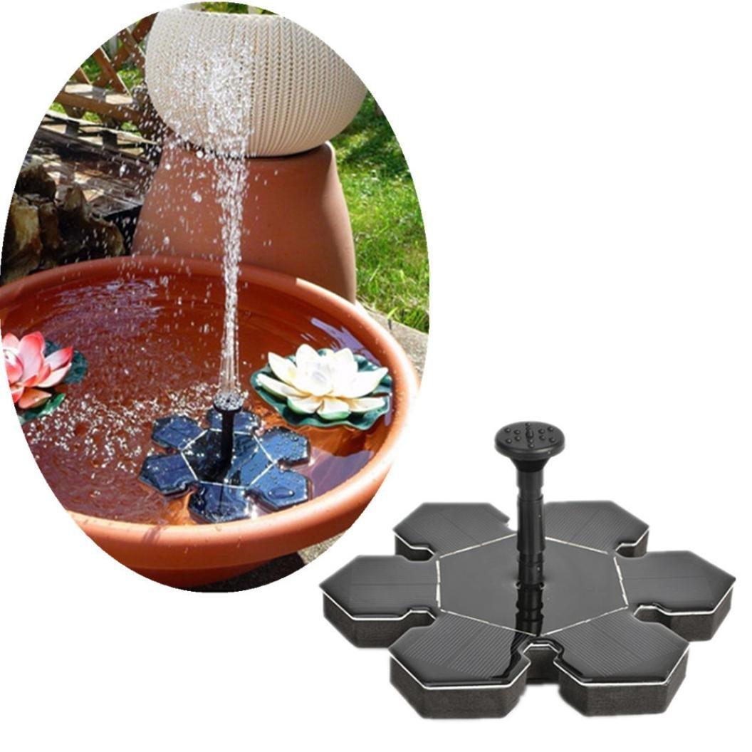 EnjoCho Solar Fountain,Solar Powered Bird Bath Fountain Water Pump Floating Small Pond Garden Patio Decoration 2018 Hot (Black)