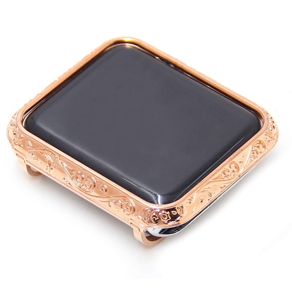 YALTOL Suitable for Iwatch/Apple Watch Series 4/3/2/1 Protective Frame, with Metal case Embossed Bezel Bezel Drop, 40 mm, 44 mm, 38 mm, 42 mm,Rosegold,42mm
