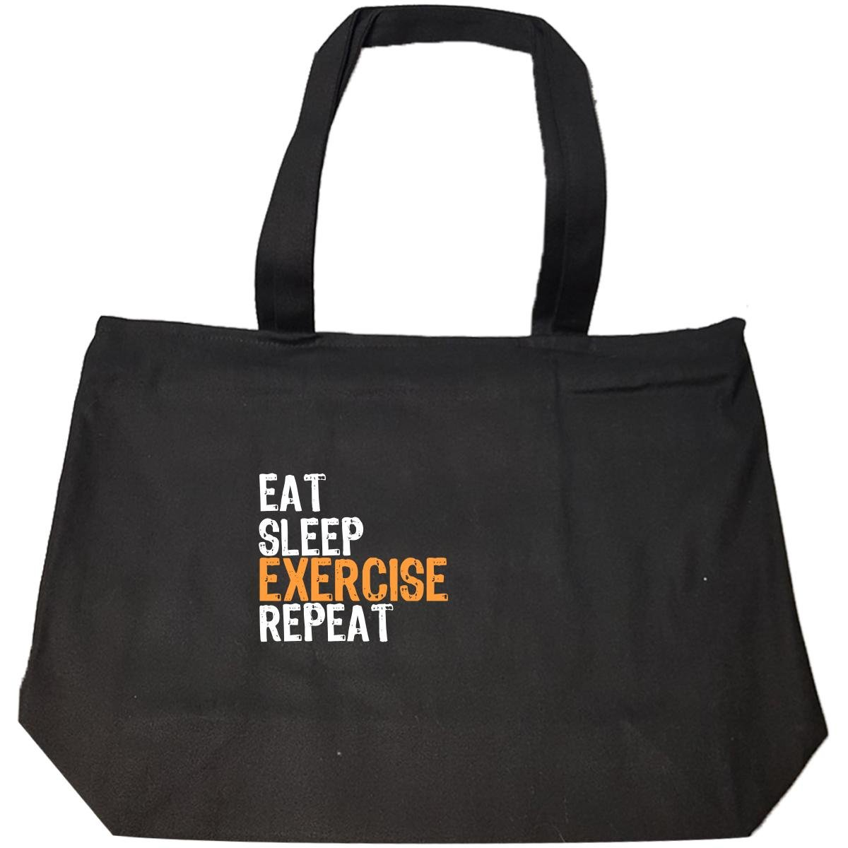 Eat Sleep Exercise Repeat - Tote Bag With Zip