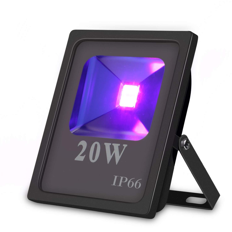 UV LED Flutlicht, Hohe Leistung 20W UV Blacklight 85V-265V AC IP66 Wasserdicht für Partys, Aushärtung, Kleber, Blacklight, Angeln, Aquarium mit Stecker Aushärtung Indmird