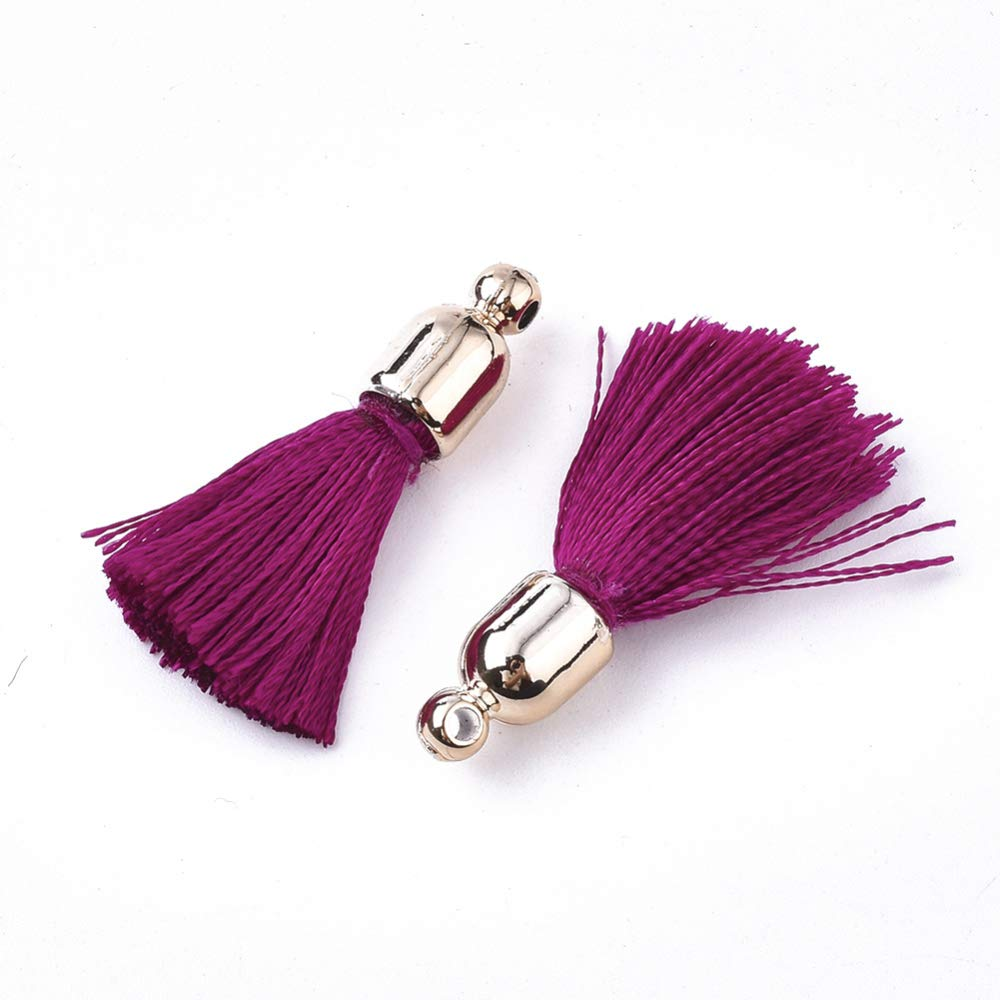 DanLingJewelry 100Pieces 25mm Polyester Tassel Pendants Silky Sewing Tassel with Caps for Key Chain Straps DIY Accessories Black