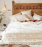 Flber White Cotton Tassel Duvet Cover,King, 96''x104''