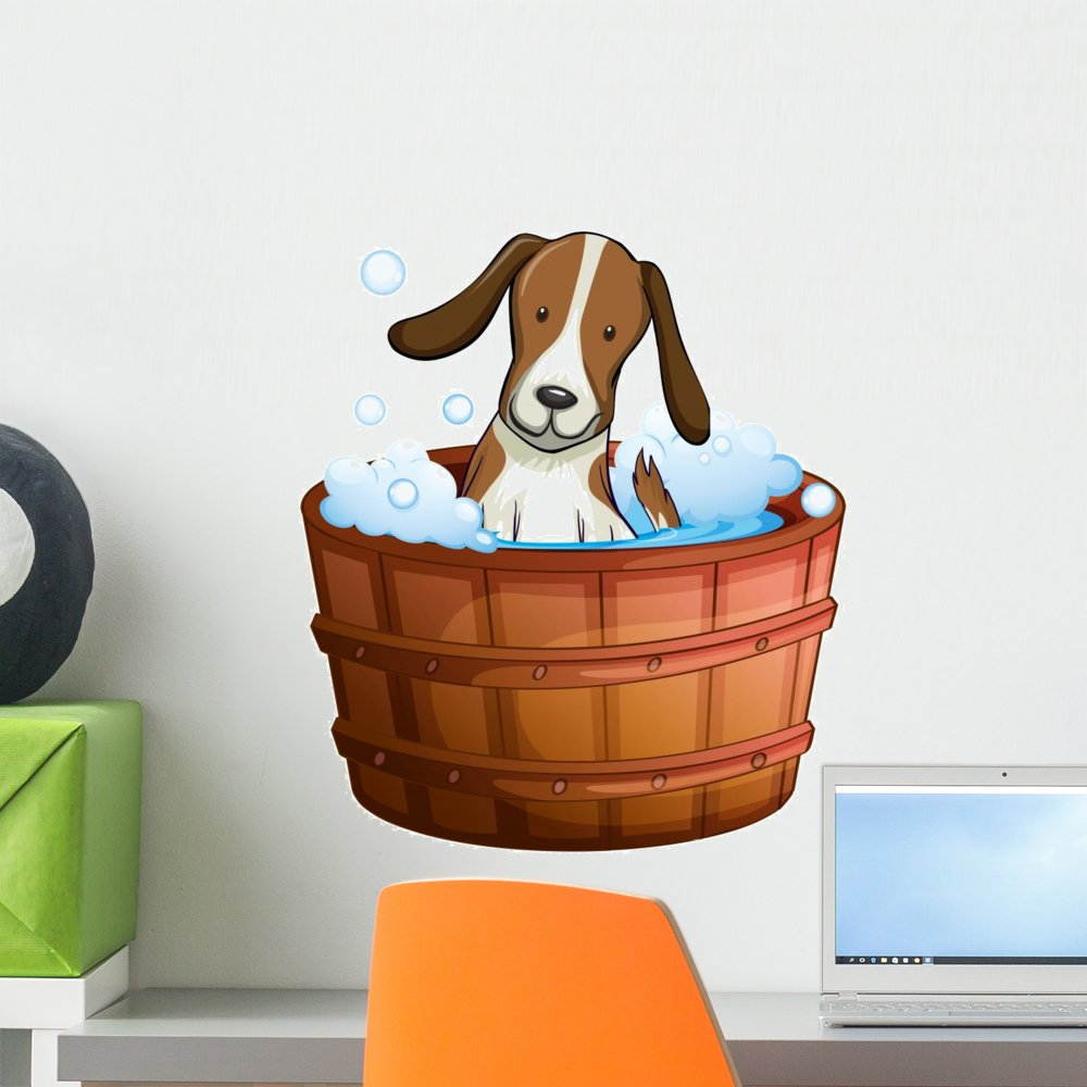 Wallmonkeys Bathtub Doggie Dog Wall Decal Peel and Stick Graphic (18 in H x 15 in W) WM248335