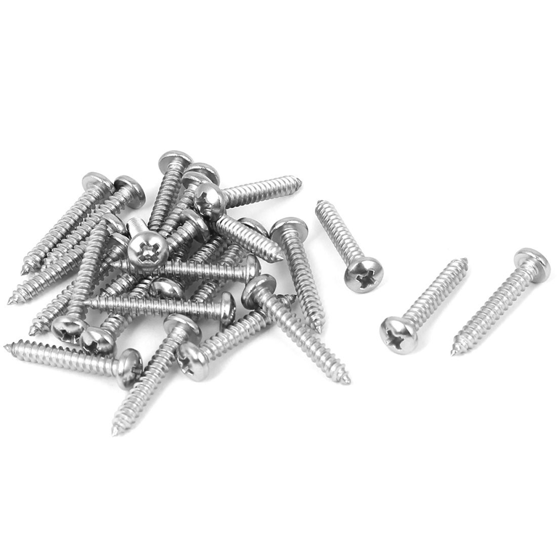 uxcell #7 M3.9x25mm Phillips Round Pan Head Self Tapping Screws 25pcs