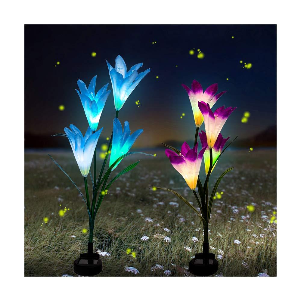 BASIWEI Outdoor Solar Garden Stake Lights, 2 Pack Solar Garden Lights with 8 Lily Flower, Waterproof Solar Powered Fairy Lights for Outdoor, Garden, Patio, Backyard(Purple and Blue) …