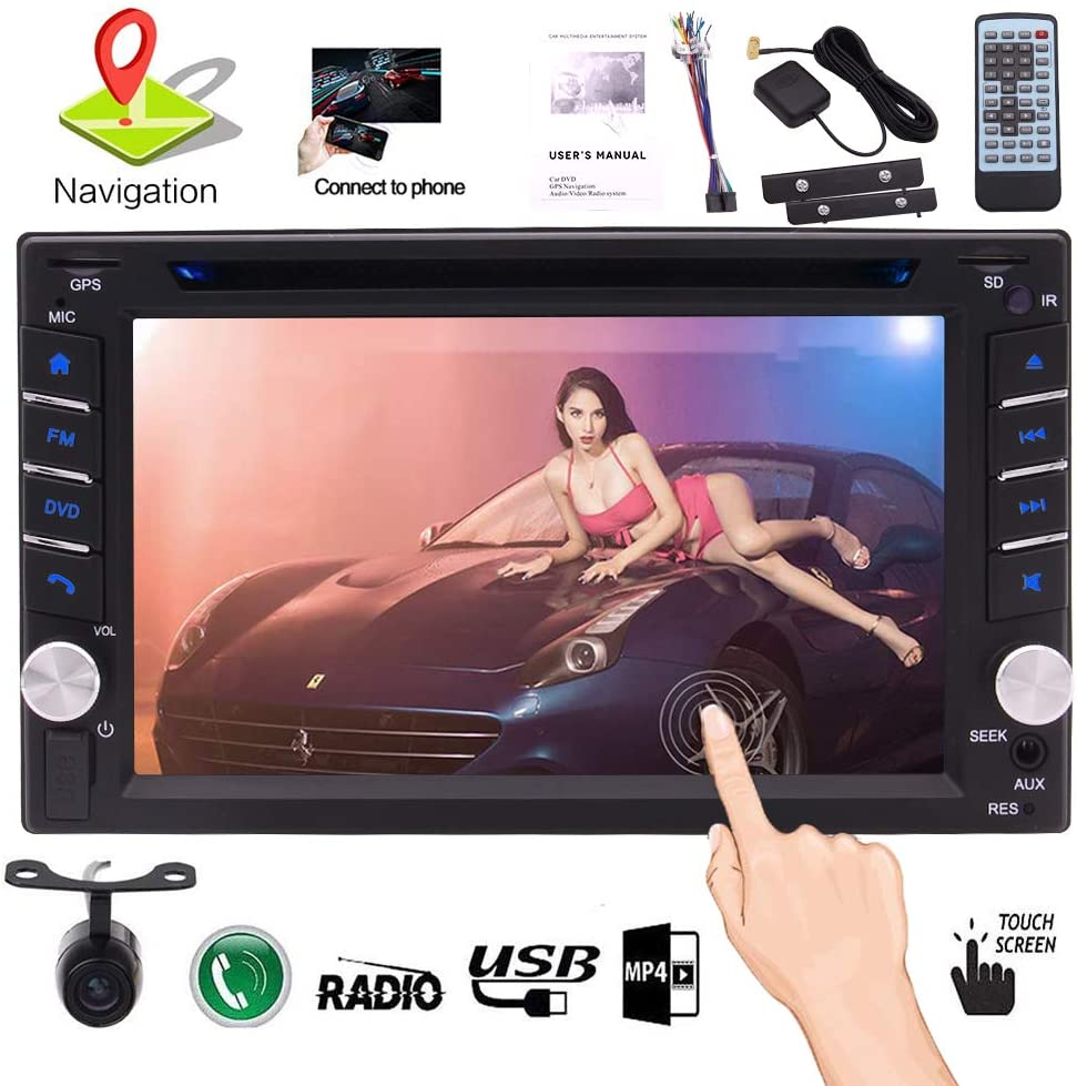 in Dash Car Stereo Bluetooth Headunit Double Din Car Radio Receiver with GPS Navigation 6.2 inch Capacitive Touchscreen 2 din Video DVD CD Player Sat Navi Entertainment System Free Reverse Camera