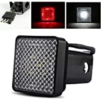ModifyStreet Red/White LED Hitch Cover Light with Running/Brake/Reverse Functions for Truck Towing Trailer or SUV Class…