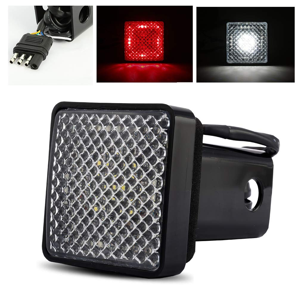 ModifyStreet Red/White LED Hitch Cover Light with Running/Brake/Reverse Functions for Truck Towing Trailer or SUV Class III 2'' Receiver by ModifyStreet