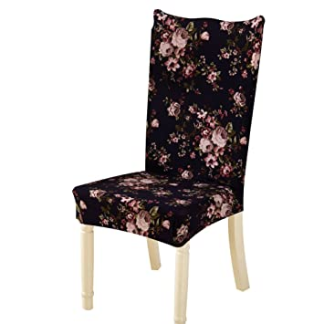 Jokereader Dining Chair Cover Protector Slipcovers Universal Soft Non-Slip Removable Floral Home Stool Seat Chair for Hotel (E)