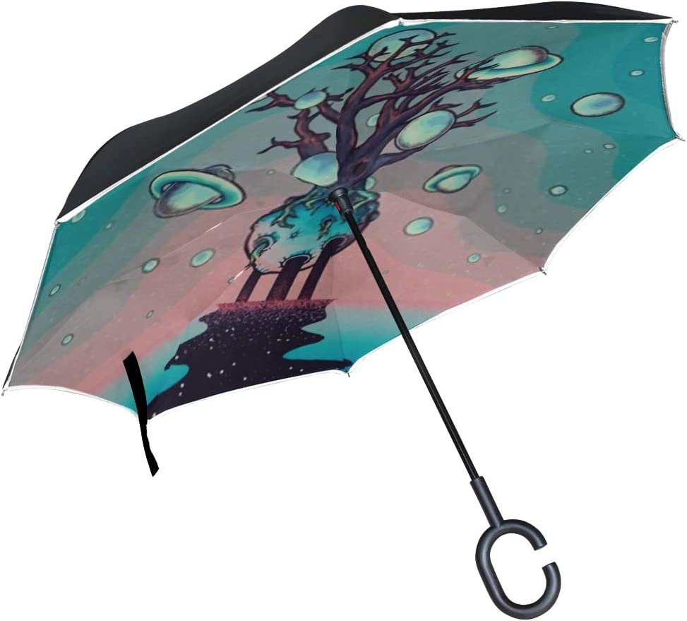 Double Layer Inverted Inverted Umbrella Is Light And Sturdy Hand Drawn Abstract Mystery Tree On Reverse Umbrella And Windproof Umbrella Edge Night Re