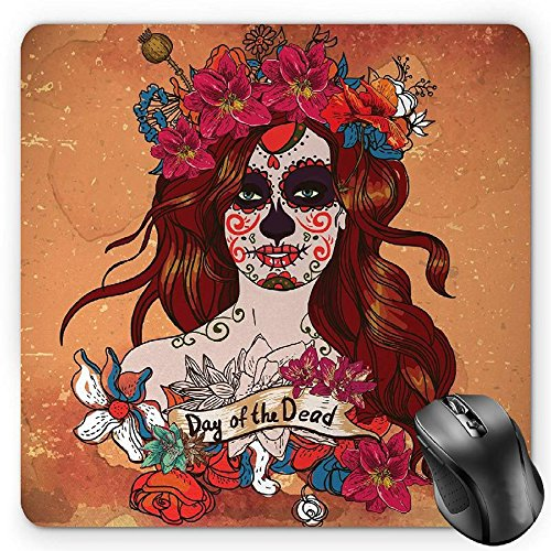 BGLKCS Day of The Dead Mouse Pad by, Dia de Los Muertos Spanish Culture Mexican Festive Skull Art, Standard Size Rectangle Non-Slip Rubber Mousepad, Cinnamon Magenta Maroon
