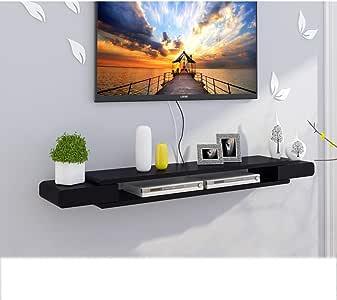 Dongyd Armazón de Pared Flotante Negro Gabinete para TV Estante para TV Estante para televisor Estante para Consola de TV Unidad de Almacenamiento Estructura para Bastidor de DVD Caja para Cable: Amazon.es: