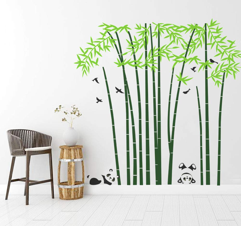 Mix Decor Tree Wall Sticker - Cute Panda Bamboo Tree Wall Decal Large Family Forest for Livingroom Kid Baby Nursery Room Decoration Party Birthday Gift,75x79 Inch Green