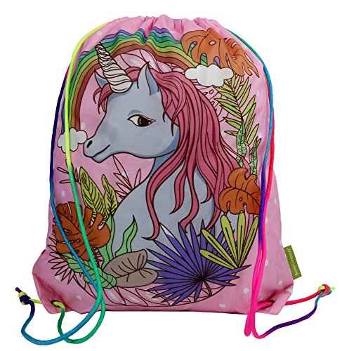 Price comparison product image Drawstring Backpack Gym Bag w Different Designs on 2 Sides and Unique Rainbow Ropes, Waterproof Ripstop Polyester Fabric(Pink Unicorn)