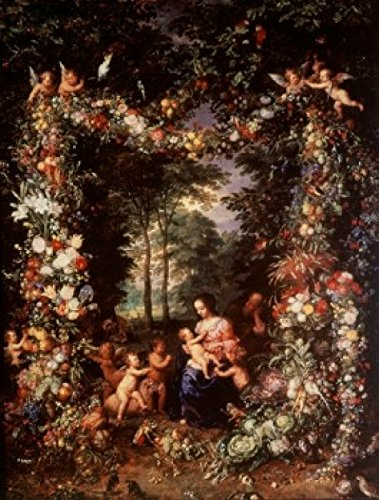 Posterazzi Holy Family with Wreath of Fruit & Flowers Jan Bruegel The Elder (1568-1625/Flemish) Poster Print, (24 x ()