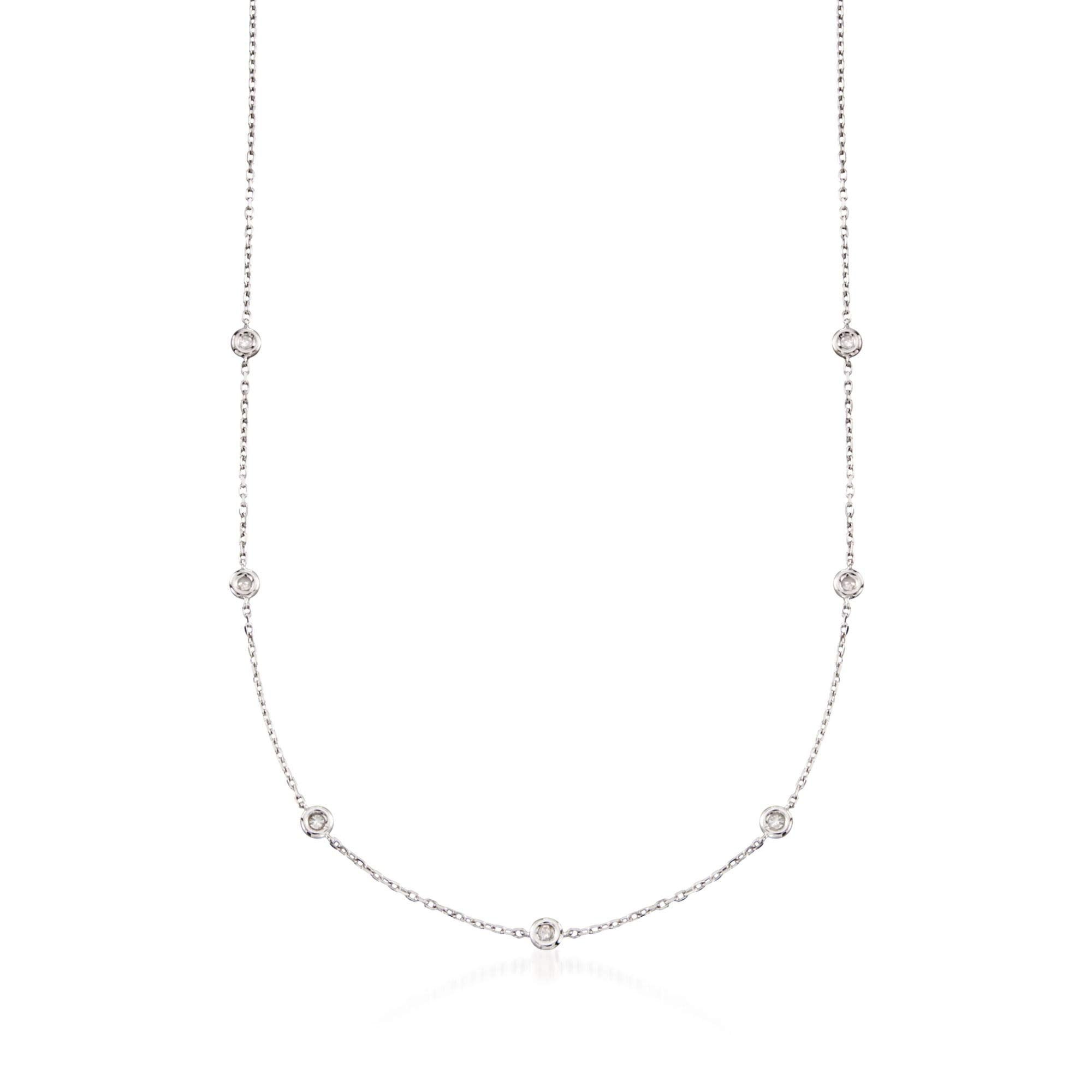 Ross-Simons 0.20 ct. t.w. Diamond Station Necklace in Sterling Silver