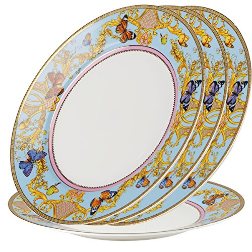 - FINECASA Bone China 10 inch Platter or Steak/Butterfly/Dinner plates Song of Joy Series Set of 4