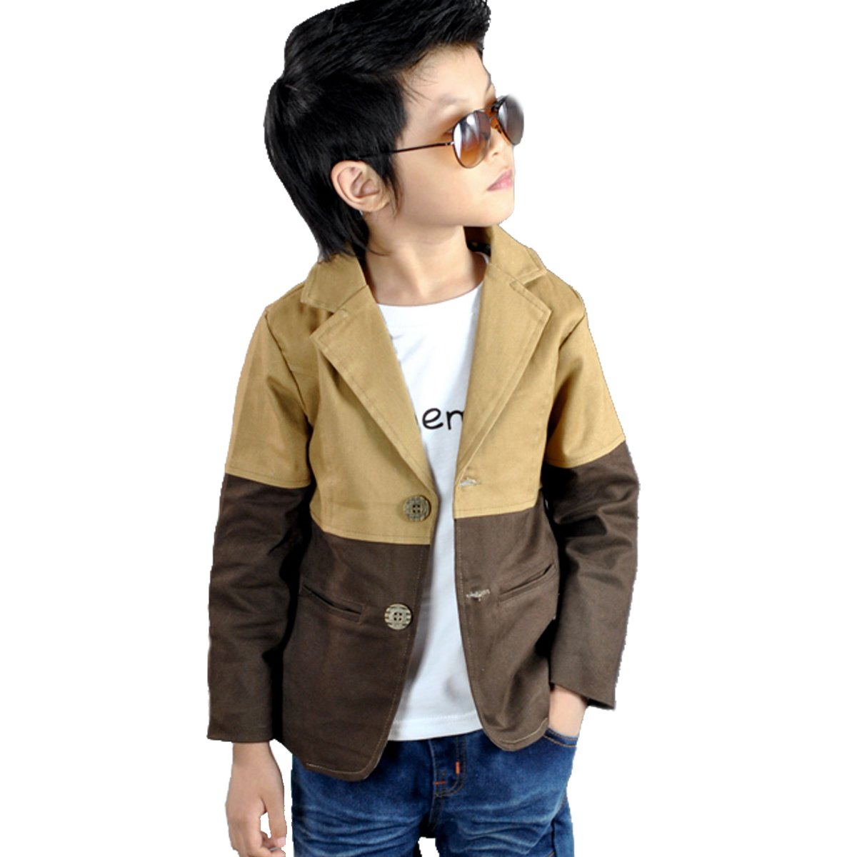 NABER Kids Boys' Fashion Contract Color Outerwear Blazer Jacket Suit Age 4-12 Yrs (8-9 Years)