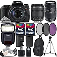 Canon EOS Rebel T6s DSLR Camera + Canon 18-135mm IS STM Lens + 70-300 Di LD Macro Lens + Canon Speedlite 430EX III RT + 64GB Storage + UV-CPL-FLD Filter Kit + Wrist Grip - International Version