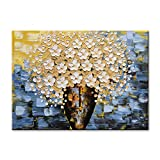 EVERFUN ART Canvas Wall Art Hand Painted Modern Textured Abstract Oil Painting White Yellow Flower Pictures Contemporary Artwork Floral Decor Stretched Framed Ready to Hang (40'' W x 30'' H)