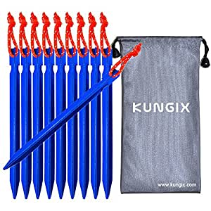 """Kungix Tent Stakes Pegs 7"""" Aluminium Alloy with Reflective Rope 10-Piece (Blue)"""