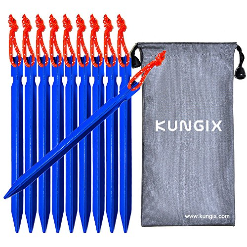 "Kungix Tent Stakes Pegs 7"" Aluminium Alloy with Reflective Rope 10-Piece - Them That Things Titanium Have In"