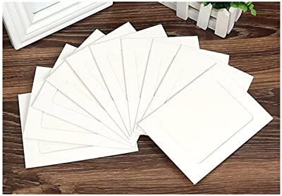 Briliant Shop 10 pcs DIY Cardboard Photo Frame Wall Deco with Clips and Hemp Rope (White, 4 inches)