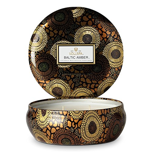 - Voluspa Baltic Amber 3 Wick Tin Candle, 12 ounces