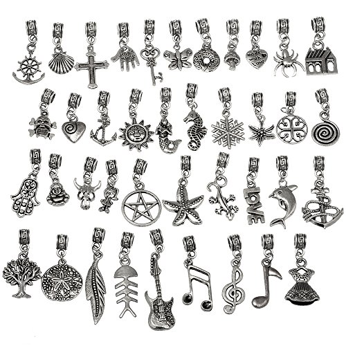 RUBYCA 40Pcs Tibetan Silver Color Connector Bails Mix Beads with Pendant fit Charm Bracelet 302