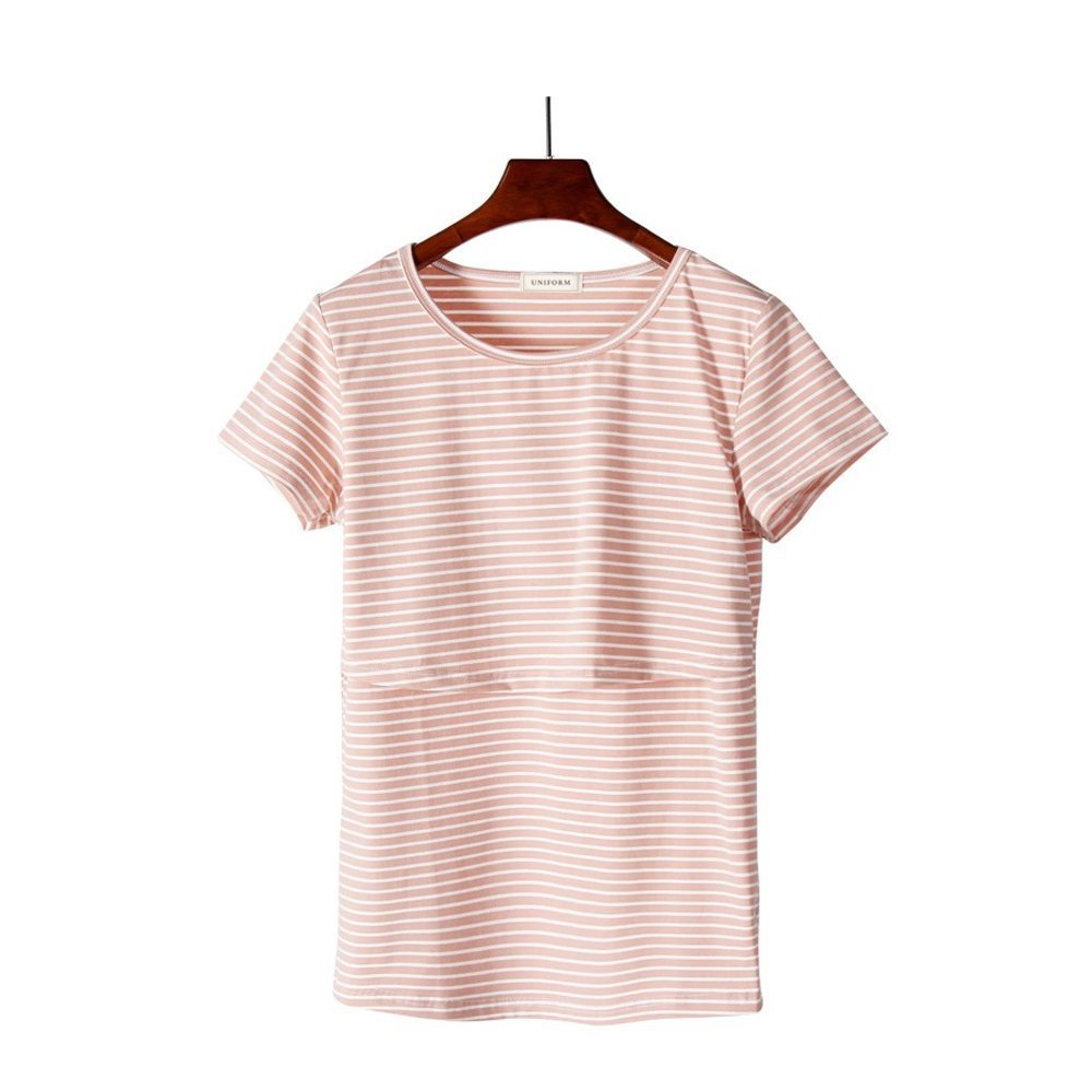 Uniform Women's Maternity Nursing Top & Short Sleeve Breastfeeding T-Shirt (Small, Peach)