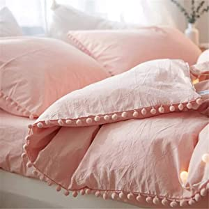 iAsteria Duvet Cover Queen,100% Washed Microfiber 3pcs Bedding Duvet Cover Set, Pom Poms Fringe Solid Color Soft and Breathable with Zipper Closure & Corner Ties - Pink