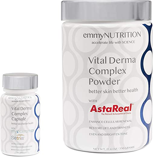 Emmy Nutrition Vital Derma Complex - Clinically Proven Ageless Beauty System - Boost Skin Health & Vitality From Inside Out with Vitamins C & E, Collagen and Biotin - 11.6 oz Powder & 30 Capsules