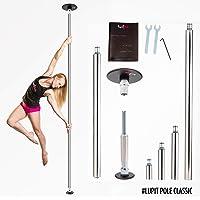 Tubo de Baile para el Hogar de LUPIT POLE (Portable Dance Pole - Fitness Pole Home) - Modelo CLÁSICO - Acero Inoxidable, 42 mm (1.65 pulg.) o 45 mm (1.77 pulg.) - Modo giro y estático - Tubo de baile portátil y desmontable para estudio y gimnasio