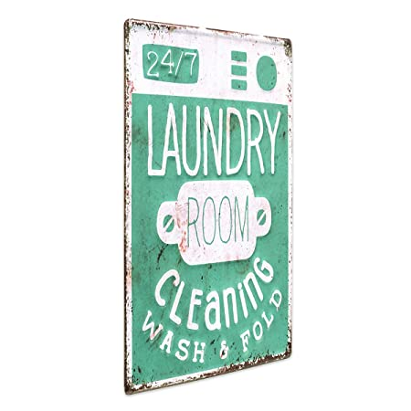 Photolini Cartel de Chapa Laundry 24/7 30x40 cm Cartel de Metal Retro Lema Lavandería Cartel de decoración