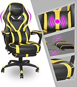 Video Gaming Chair Racing Recliner - Ergonomic Adjustable Padded Armrest Swivel High Back Footrest Headrest Lumbar Support Leather Breathable Bucket Home Office Computer BIFMA (Yellow Massage)