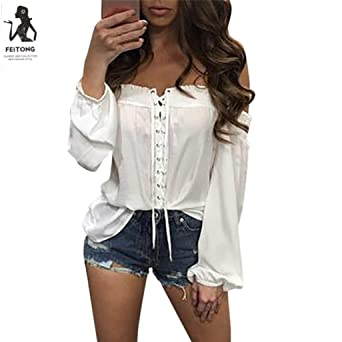 Las mujeres blusa, moda para mujer verano suelto Casual Off hombro blusa, S,