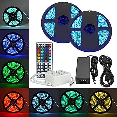 eTopxizu 32.8Ft /10M DC 12V Flexible 5050 RGB LED Strip Kit
