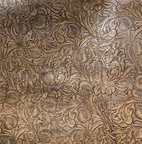 Leather Sheets, Embossed Leather Floral Saddle, Custom Cuts, Leather Sheets for Bags, Wallets, Earrings, Upholstery (18x18 inch)