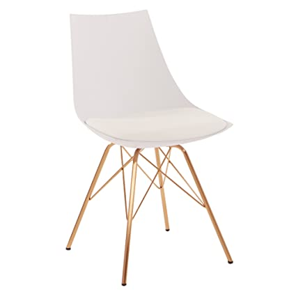 AVE SIX Oakley Faux Leather Task Chair With Gold Chrome Base, White