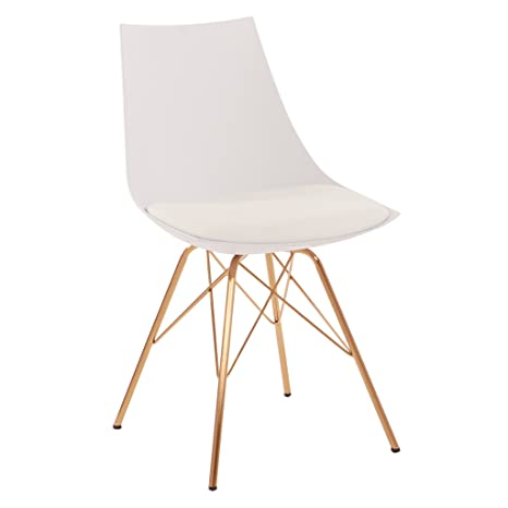 Phenomenal Ave Six Oakley Faux Leather Task Chair With Gold Chrome Base White Bralicious Painted Fabric Chair Ideas Braliciousco
