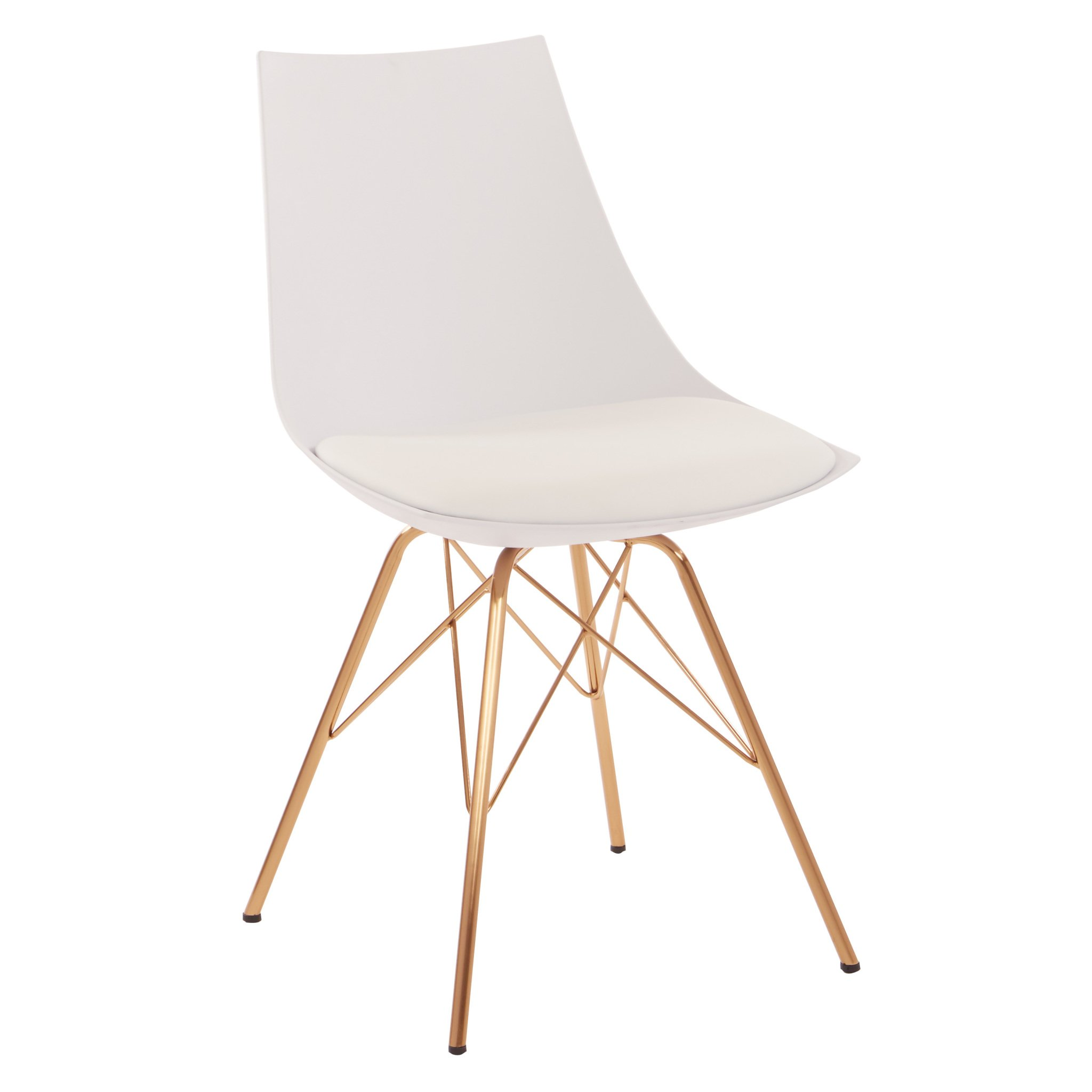 Avenue Six AVE SIX Oakley Faux Leather Task Chair with Gold Chrome Base, White