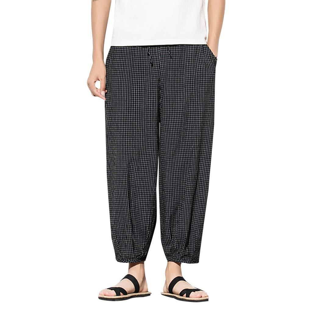 ZOMUSAR Men Long Pants Fashion Casual Harem Pants Jogger Pants Fitness Trousers Loose Pants Black