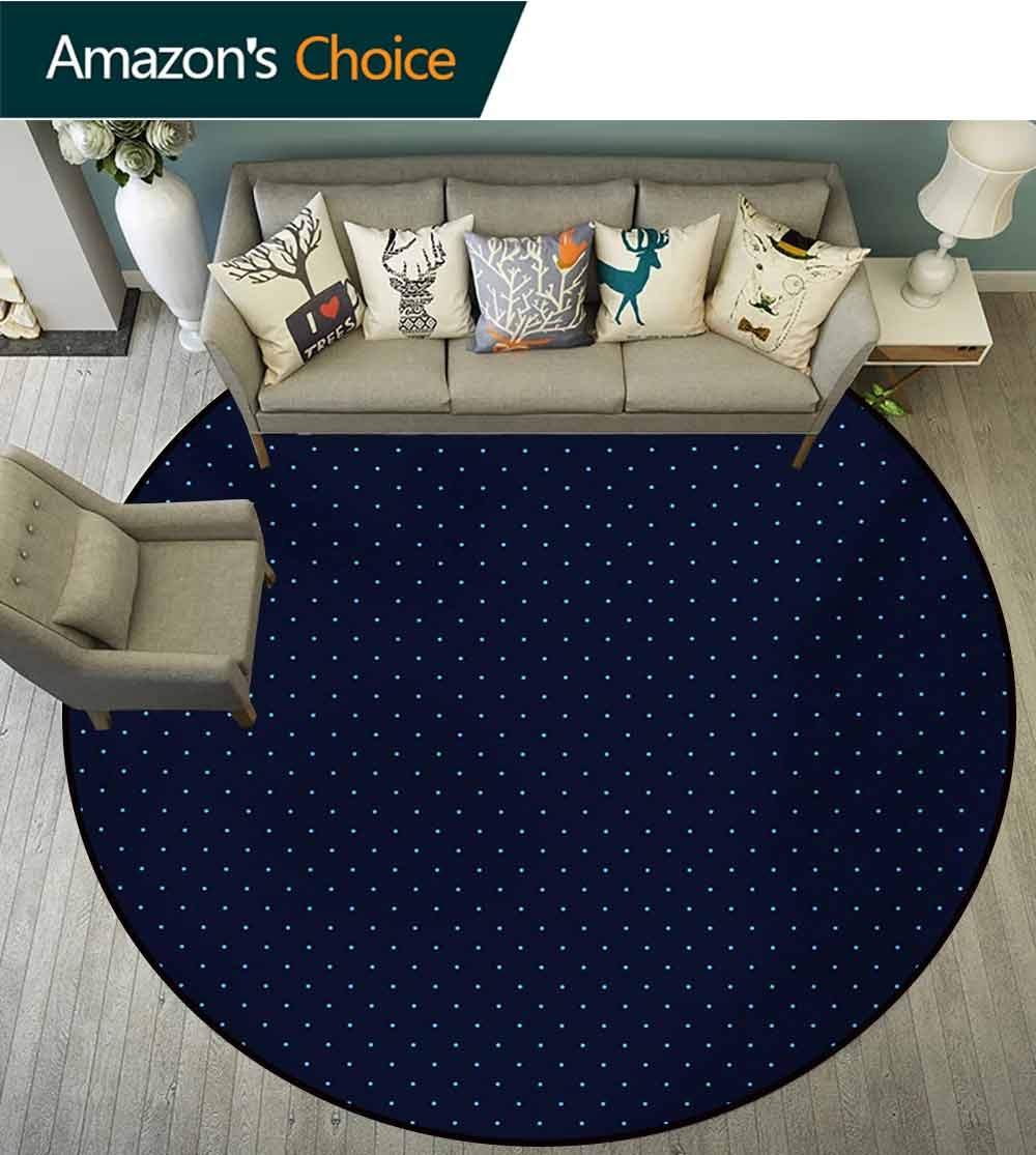 RUGSMAT Dark Blue Modern Vintage Rugs,Simple Small Color Dots On Dark Blue Background Retro Style Pattern Area Rug - Perfect for Any Place,Diameter-71 Inch Pale Blue and Dark Blue