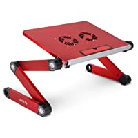 Lavolta Portable Folding Laptop Table Desk Tray Stand with Cooling Pad - Red