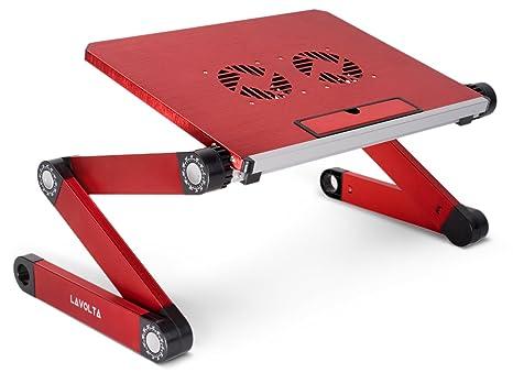 Lavolta ls-015rd - Mesa plegable para ordenador portátil con bandeja y base de refrigeración