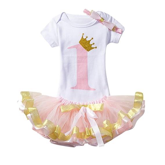 K-youth Vestido Bebe Niñas, Bebé Primer Cumpleaños 3 Piezas Ropa ...